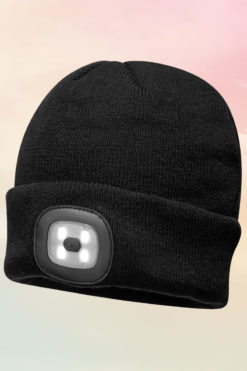 Black Beanie Hat With LED Headlight USB Rechargeable