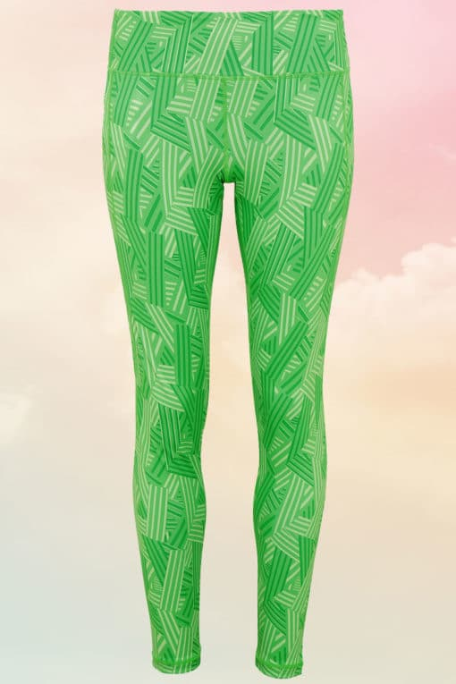 Crossed Lines Green Leggings