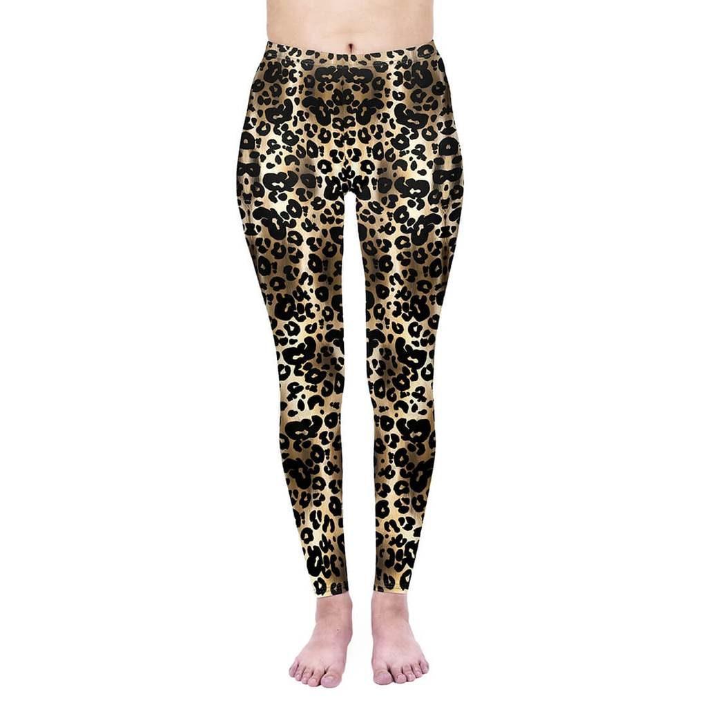 Dark Gold Leopard High Waisted Leggings