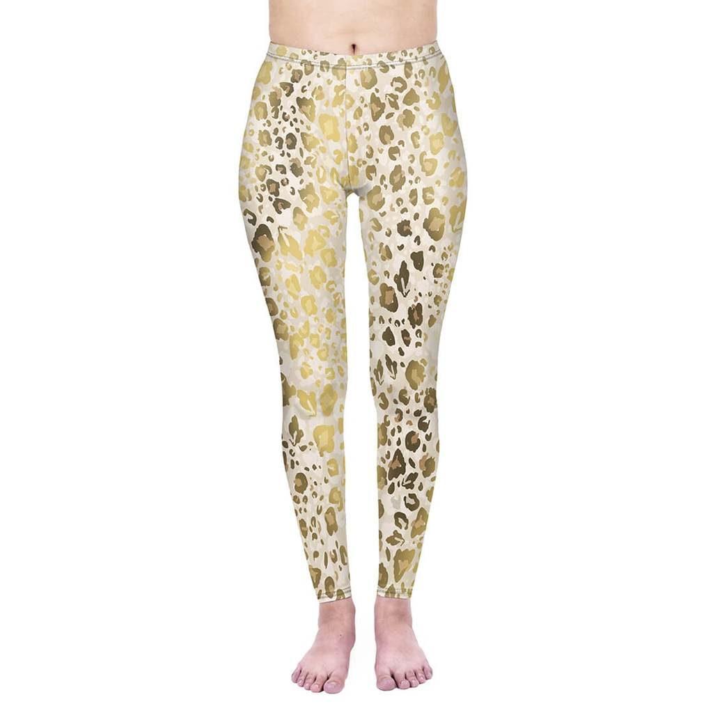 Gold Shimmer Leopard Print High Waisted Leggings
