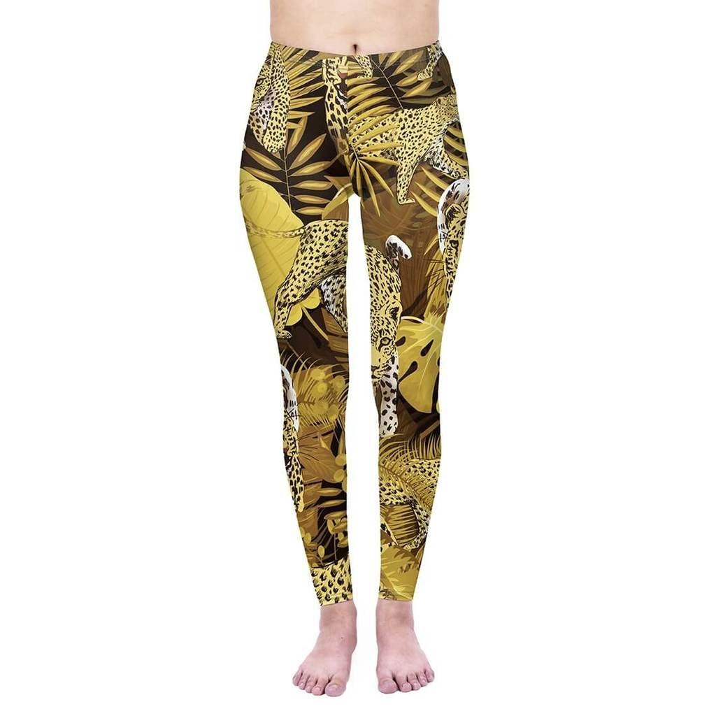 Golden Tropical Leopard Plus Leggings