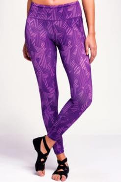 Women's Crossed Lines Purple Funky Gym Leggings
