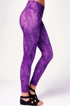 Women's Crossed Lines Purple Funky Gym Leggings Side