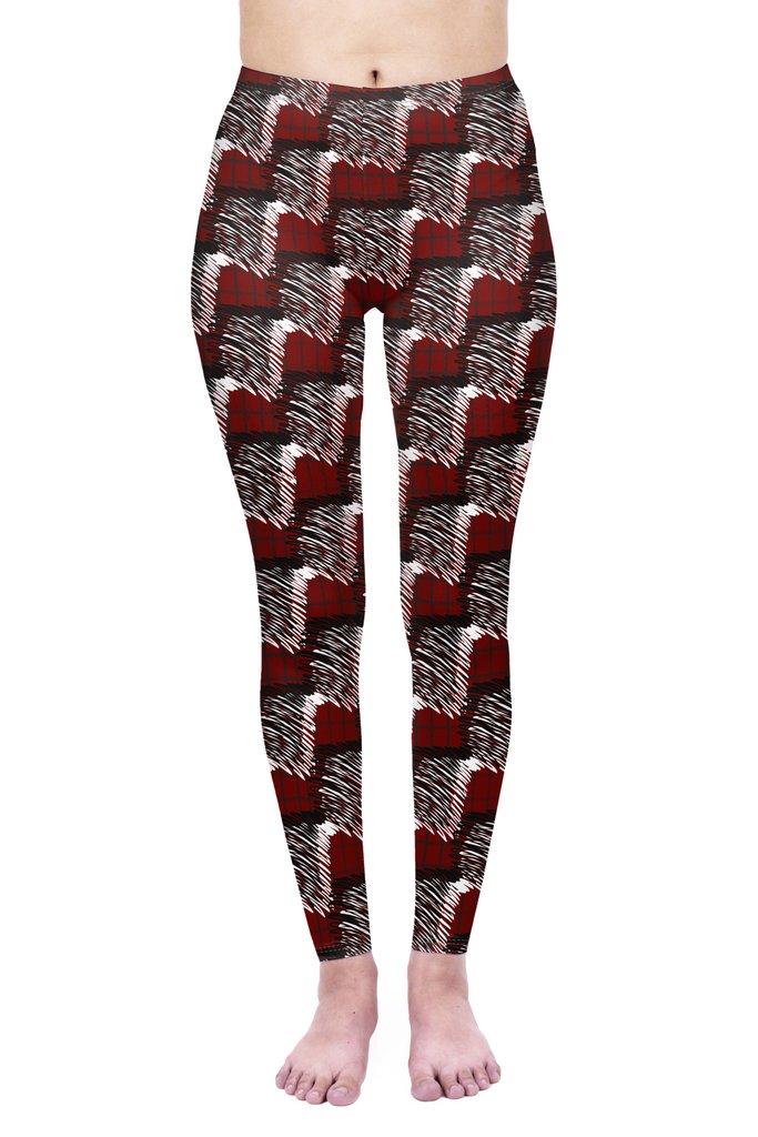 Scribble Check Red Tartan Leggings