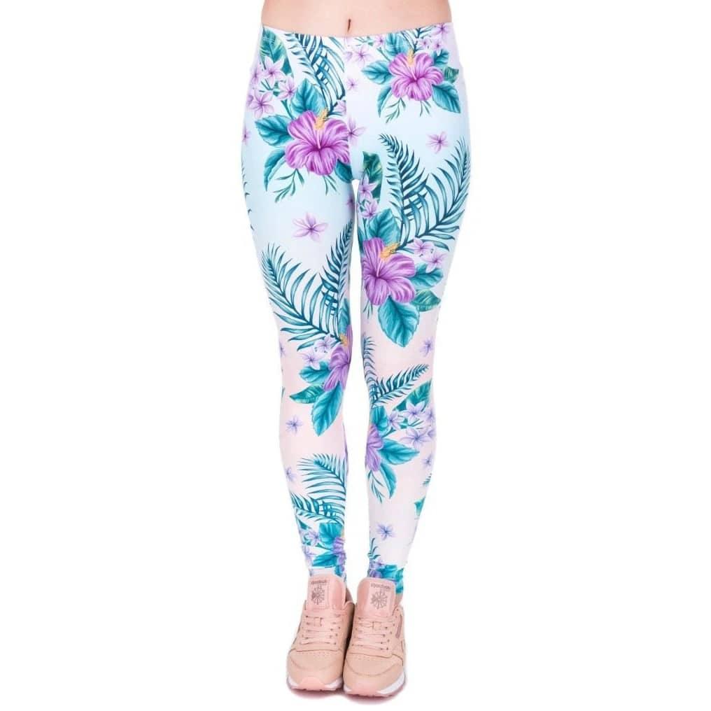 Tropical Pink Flower Leggings