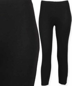 Women Black Three Quarter Leggings