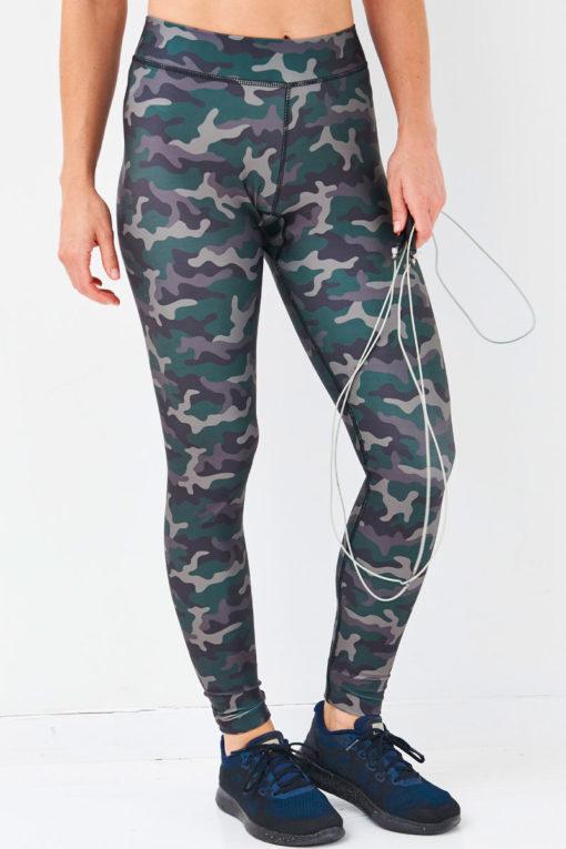 Women's Fashion Green Camo Funky Gym Leggings