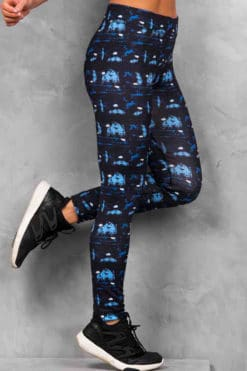 Womens Abstract Blue Funky Gym Leggings
