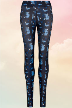 Womens Abstract Blue Funky Gym Leggings Front