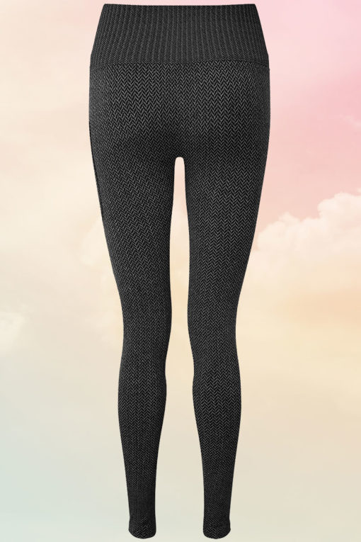 Womens ActiveLife Knitted Charcoal Gym Leggings Back
