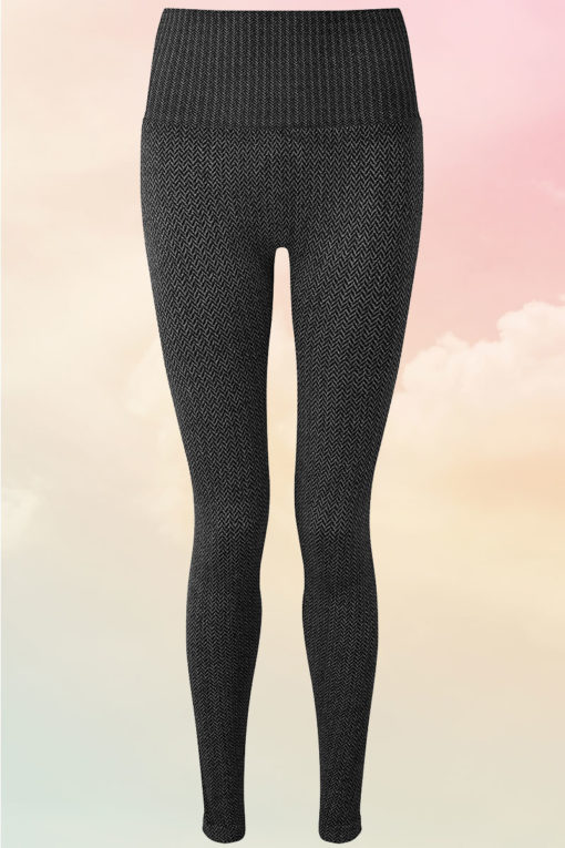 Womens ActiveLife Knitted Charcoal Gym Leggings Front