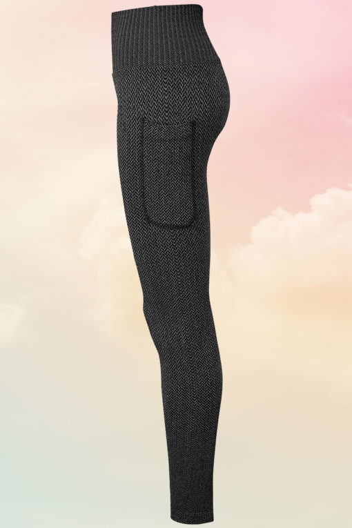 Womens ActiveLife Knitted Charcoal Gym Leggings Front Side