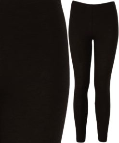 Womens Black Cotton Spandex Leggings