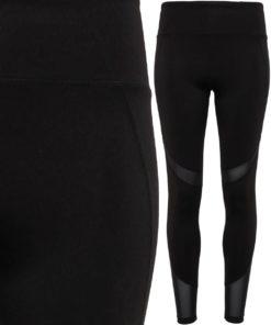 Womens Black Mesh Tech Panel Leggings Full Length
