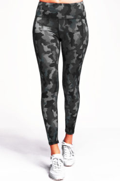 Womens Camo Charcoal Performance Leggings Activewear