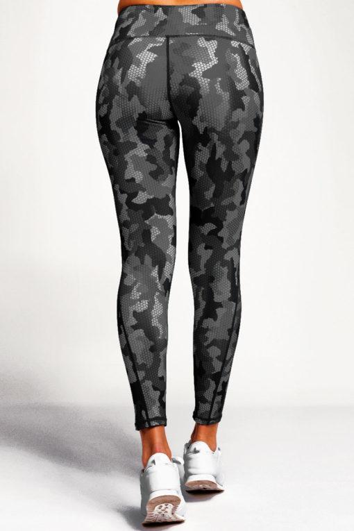 Womens Camo Charcoal Performance Leggings Activewear Back