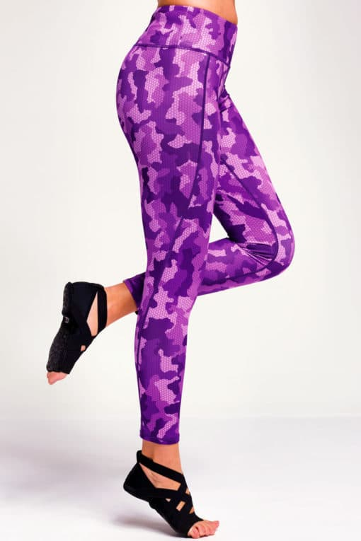 Women's Camo Purple Funky Gym Leggings Side