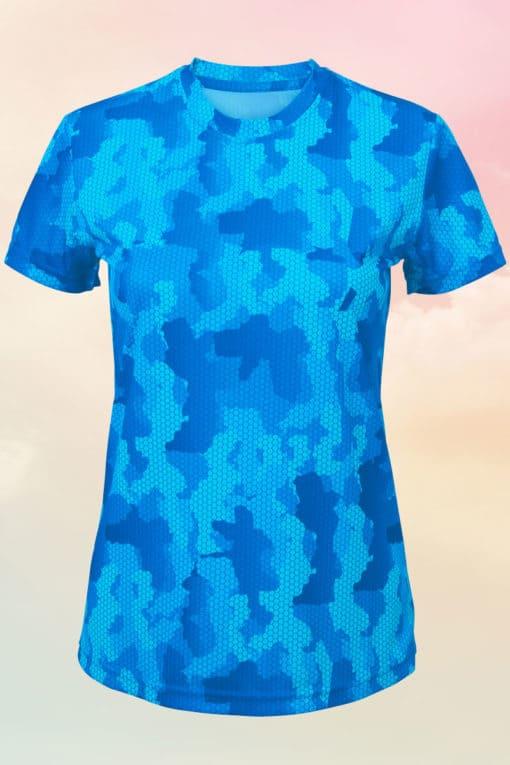 Womens Camo Sapphire Blue Performance T-Shirt