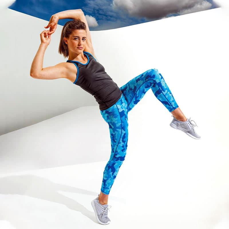 Womens Camohex Performance Blue Leggings Activewear