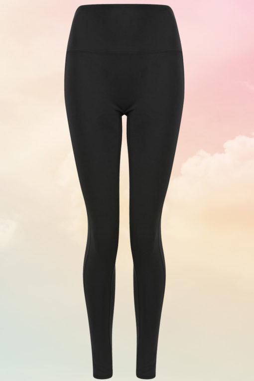 Womens Core Black Gym Leggings Front
