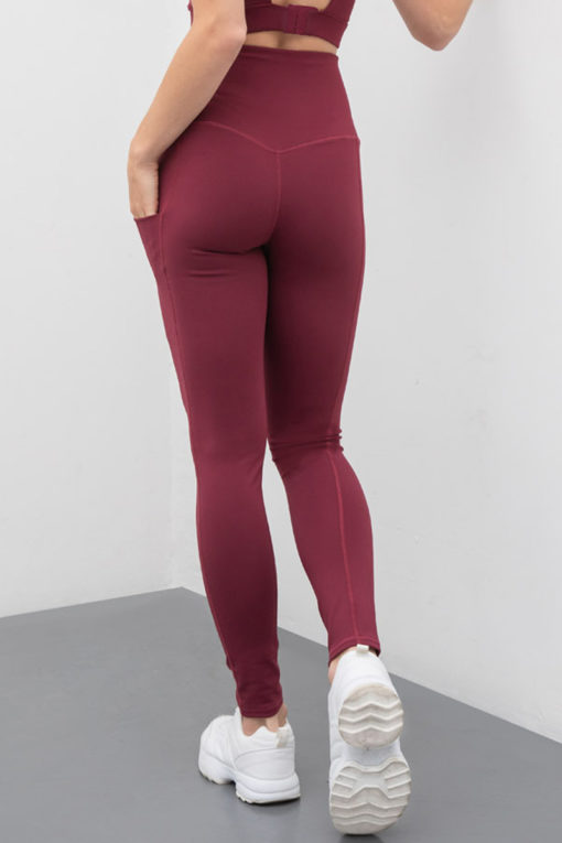 Womens Core Burgundy Gym Leggings Activewear Back