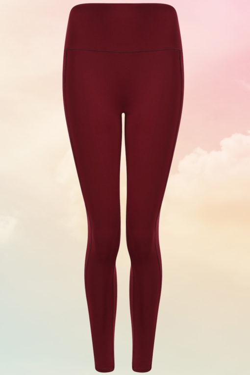 Womens Core Burgundy Gym Leggings Front