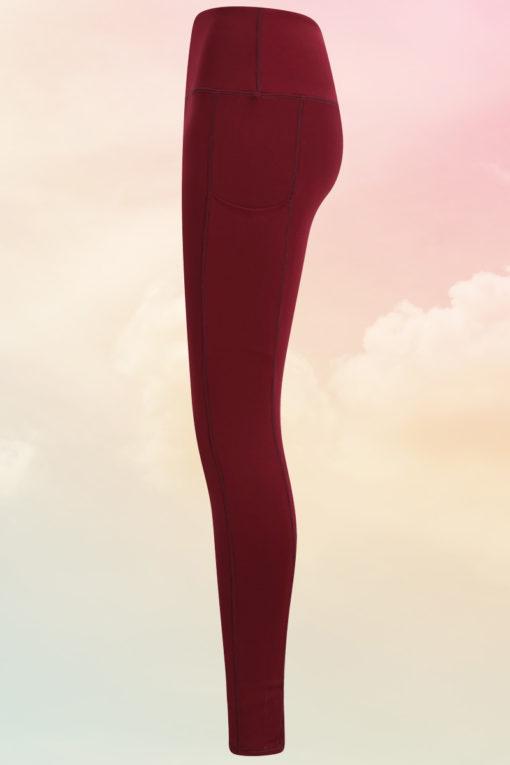 Womens Core Burgundy Gym Leggings Side