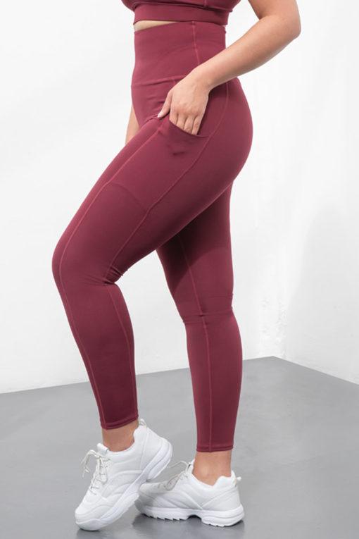 Womens Core Burgundy Plus Size Gym Leggings Side Close