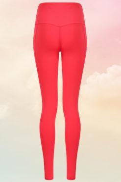 Womens Core Hot Coral Gym Leggings Back