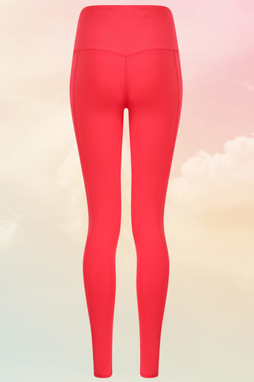 Womens Core Hot Coral Gym Leggings Back