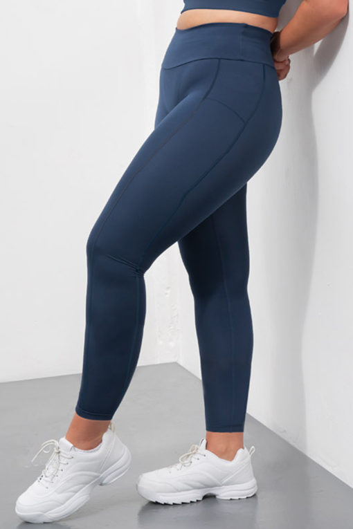 Womens Core Navy Plus Size Gym Leggings-Only
