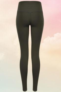 Womens Core Olive Green Gym Leggings Back
