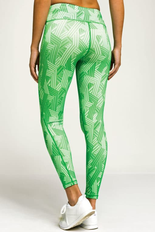 Womens Crossed Lines Green Funky Gym Leggings Back