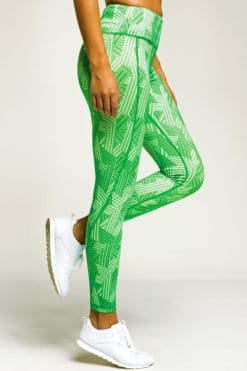 Womens Crossed Lines Green Funky Gym Leggings Side