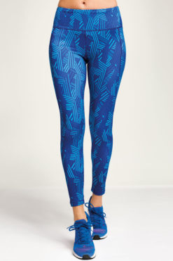Womens Crossed Lines Royal Blue Funky Gym Leggings