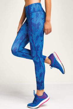 Womens Crossed Lines Royal Blue Funky Gym Leggings Side