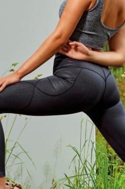 Womens Embossed Black Hourglass Leggings Back