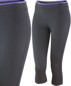 Womens Fitness Black Lavender Capri Pants