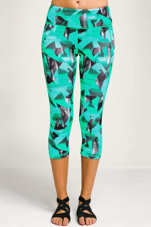 Womens Geo Funky Turquoise Cropped Gym Leggings