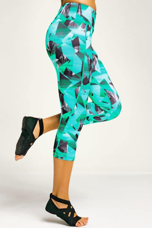 Womens Geo Funky Turquoise Cropped Gym Leggings Side
