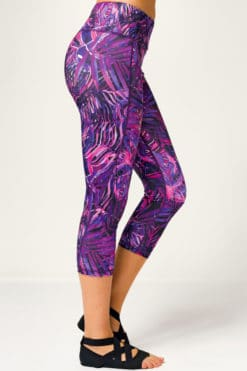 Womens Jungle Purple Cropped Gym Leggings Side