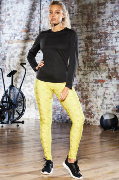 Womens Kaleidoscope Lime Funky Gym Leggings-Outfit