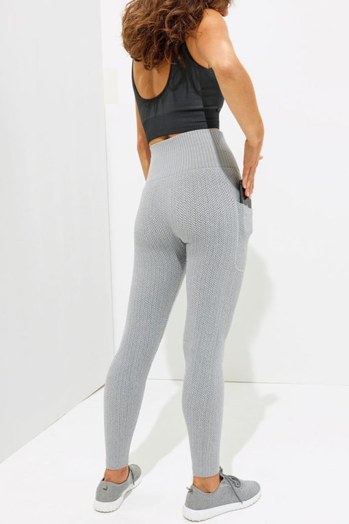 Womens Knitted Heather Grey ActiveLife Leggings Back