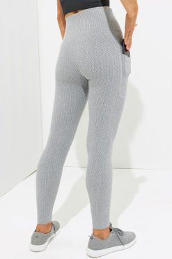 Womens Knitted Heather Grey ActiveLife Leggings Pockets