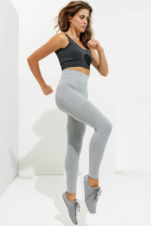 Womens Knitted Heather Grey ActiveLife Leggings Side