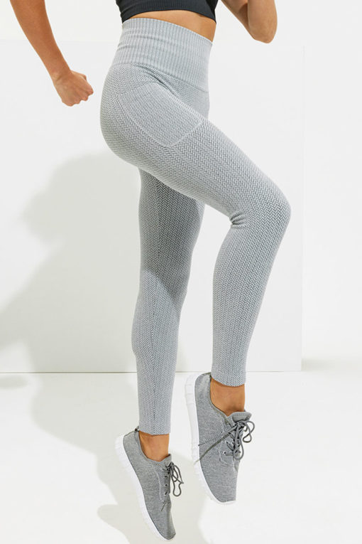 Womens Knitted Heather Grey ActiveLife Leggings Side Pockets