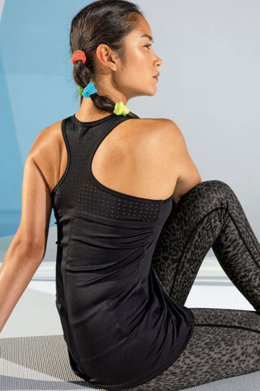 Womens Laser Cut Black Vest Back