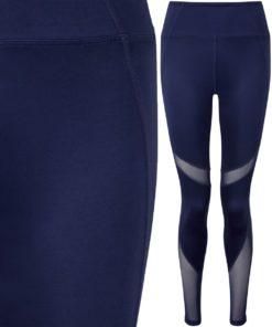 Womens Navy Mesh Tech Panel Leggings Full Length