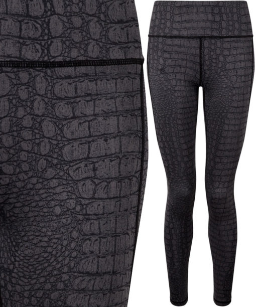 Womens Performance Animal Printed Crocodile Black Leggings