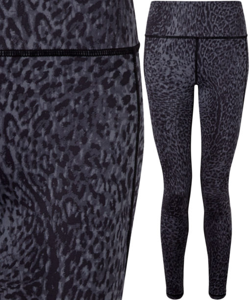 Womens Performance Animal Printed Leopard Black Leggings